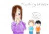 Child's drawing of a parent coughing