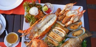 A tantalizing seafood platter complete with lobster