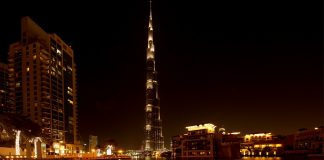 Vacation ideas for women Dubai Night Burj Khalifa Light