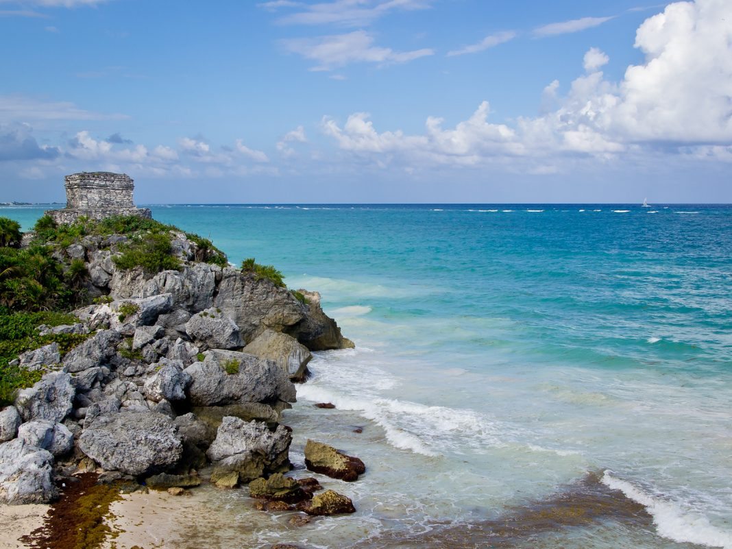 Tulum Mexico's beaches, clear waters, blue skies and mountains