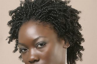 Improve dry and ashy skin on this beautiful brown skin woman in a red dress, natural hair