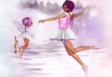 two girl angels flying high above the clouds wearing purple and white