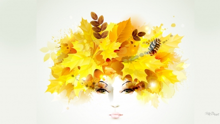 sketch of a woman's face with leaves in her hair