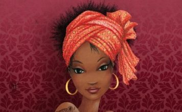 African American dating - Painting of African girl with tats in a headwrap