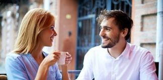 couple having an interesting conversation over coffee