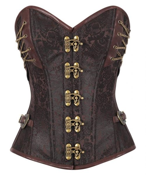 VG 18543 F Brown Brocade Steampunk Overbust Corset 765x 500x600 - 4 Steps To Look Even Sexier While Wearing A Corset Top