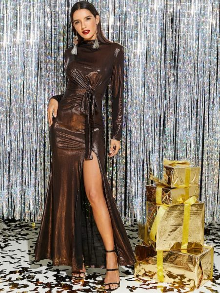 SHEIN Knot Front High Slit Metallic Dress 451x600 - 6 Affordable New Year's Eve Outfit Ideas