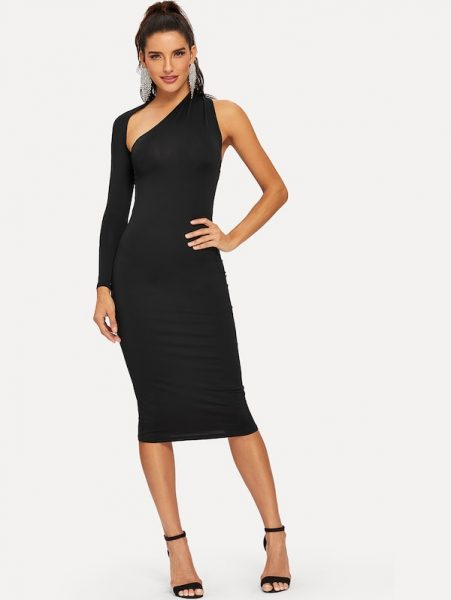 SHEIN One Shoulder Skinny Dress 451x600 - 6 Affordable New Year's Eve Outfit Ideas