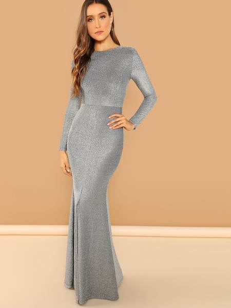 New Year's Eve outfit Solid Split Hem Maxi Dress