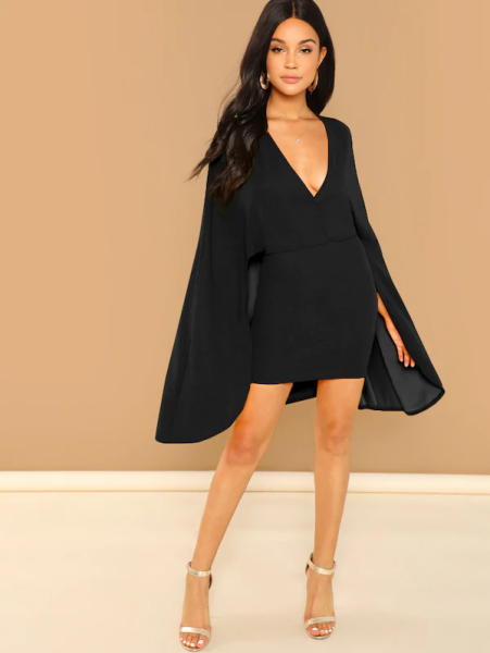 Shein surplice neck cape dress 451x600 - 6 Affordable New Year's Eve Outfit Ideas