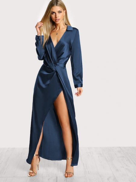 New Year's Eve outfit satin front twist wrap dress