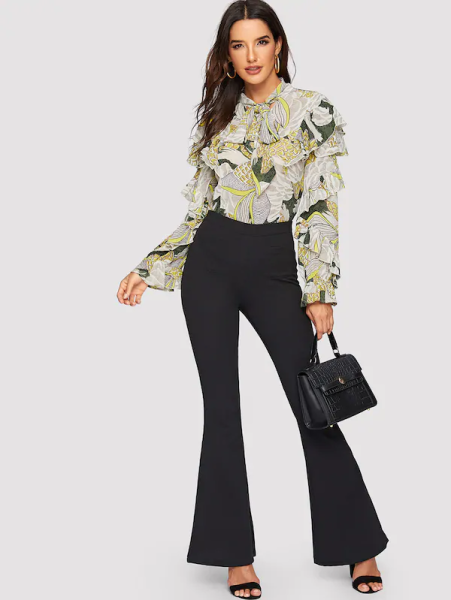 7 Comfortable and Casual Spring Outfit Ideas You Must Try SHEINTie Neck Mixed Print Ruffle Trim Top