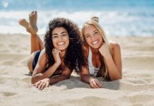 Destination For A Summer Hookup two young women with beautiful bodies swimwear tropical beach 1139 1594