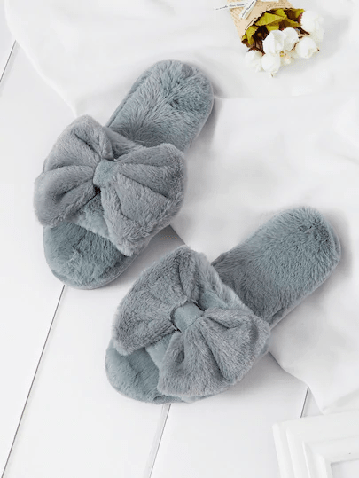 bow faux fur slippers min