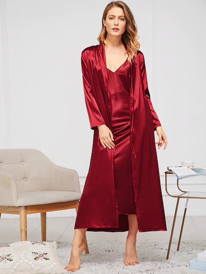 gift ideas for grandmothers satin cami dress with belt shine bath robe