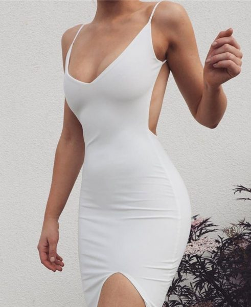 Ericdress Above Knee V Neck Sleeveless Bodycon Plain Dress