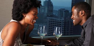 black couple on a date over looking the city